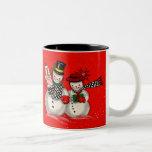 Cute Snowman Couple Two-Tone Coffee Mug
