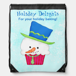 Cute Snowman Cupcake Baking Business Promotion Drawstring Bag
