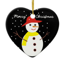 Cute snowman custom Christmas ornament