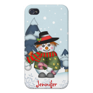 Cute Snowman & Custom Name Christmas Cover For iPhone 4