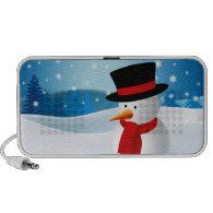 Cute Snowman Doodle Laptop Speaker
