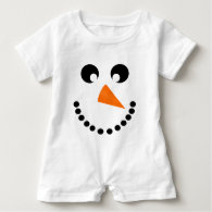 Cute Snowman Face Baby Costume Shirts