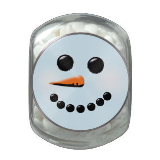 Cute Snowman Face Winter Holiday Snowmen Jelly Belly Candy Jars