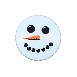 Cute Snowman Face Winter Holiday Snowmen Jelly Belly Candy Tin