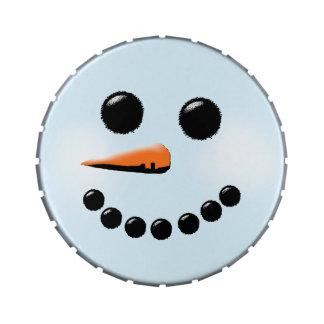 Cute Snowman Face Winter Holiday Snowmen Jelly Belly Tin
