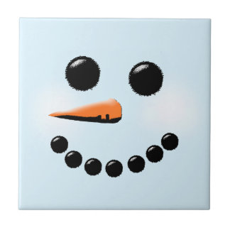 Cute Snowman Face Winter Holiday Snowmen Small Square Tile