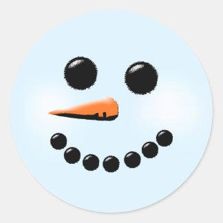 Cute Snowman Face Winter Holiday Snowmen Xmas Classic Round Sticker