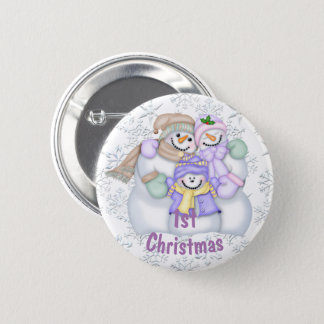 Cute Snowman Family Baby's 1st Christmas Button