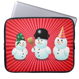 Cute Snowman Family Cartoon Computer Sleeve