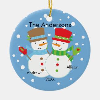 Cute Snowman Family of 2 Christmas Ornament