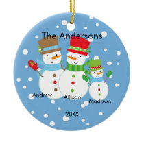 Cute Snowman Family of 3 Christmas Ornament
