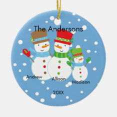 Cute Snowman Family Of 3 Christmas Ornament at Zazzle