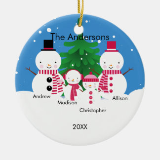 Cute Snowman Family of 4 Christmas Ornament