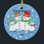 """Cute Snowman Family of 4 Christmas Ornament<br><div class=""""desc"""">Our family of 4 christmas ornament features a cute snowman couple set on a snow filled blue background!   Personalize with your information and date and you"""
