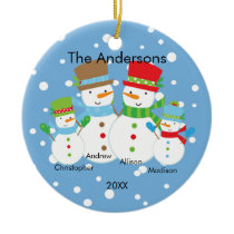 Cute Snowman Family of 4 Christmas Ornament