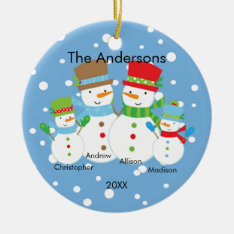 Cute Snowman Family Of 4 Christmas Ornament at Zazzle