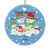 Cute Snowman Family of 6 Christmas Ornament