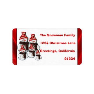 Cute Snowman Family Of Five Return Address Labels