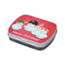 Cute Snowman Family Xmas Celebration Jelly Belly Tins
