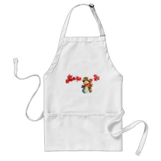 Cute snowman figurine with red berries on white adult apron