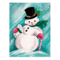 Cute Snowman Girl Postcard