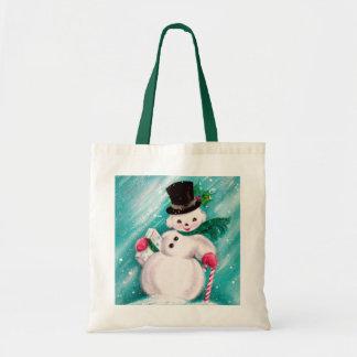 Cute Snowman Girl Tote Bag