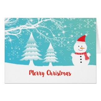 Cute Snowman Hand Written Merry Christmas
