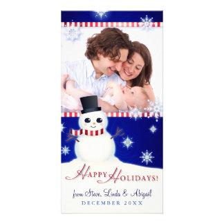 "Cute Snowman ""Happy Holidays"" Custom Photo Greeting Card"