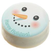 Cute Snowman Head With Rosy Cheeks Chocolate Dipped Oreo