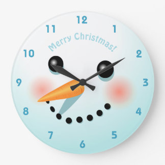 Cute Snowman Head With Rosy Cheeks Large Clock
