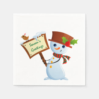 Cute Snowman Holiday Party Paper Napkin Set