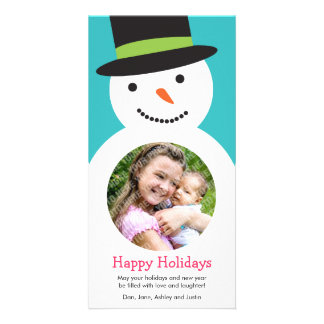 Cute Snowman Holiday Photo Card