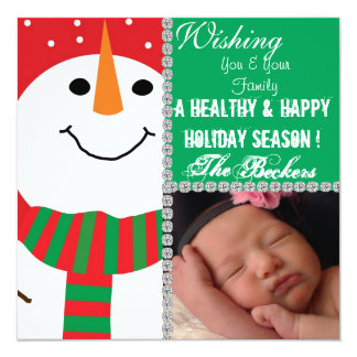 CUTE Snowman Holiday PICTURE CARD