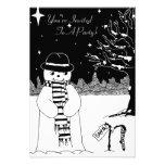 Cute snowman illustration christmas invitation
