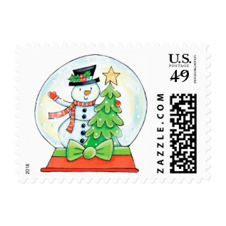 Cute Snowman In A Snow Globe With Christmas Tree Postage at Zazzle