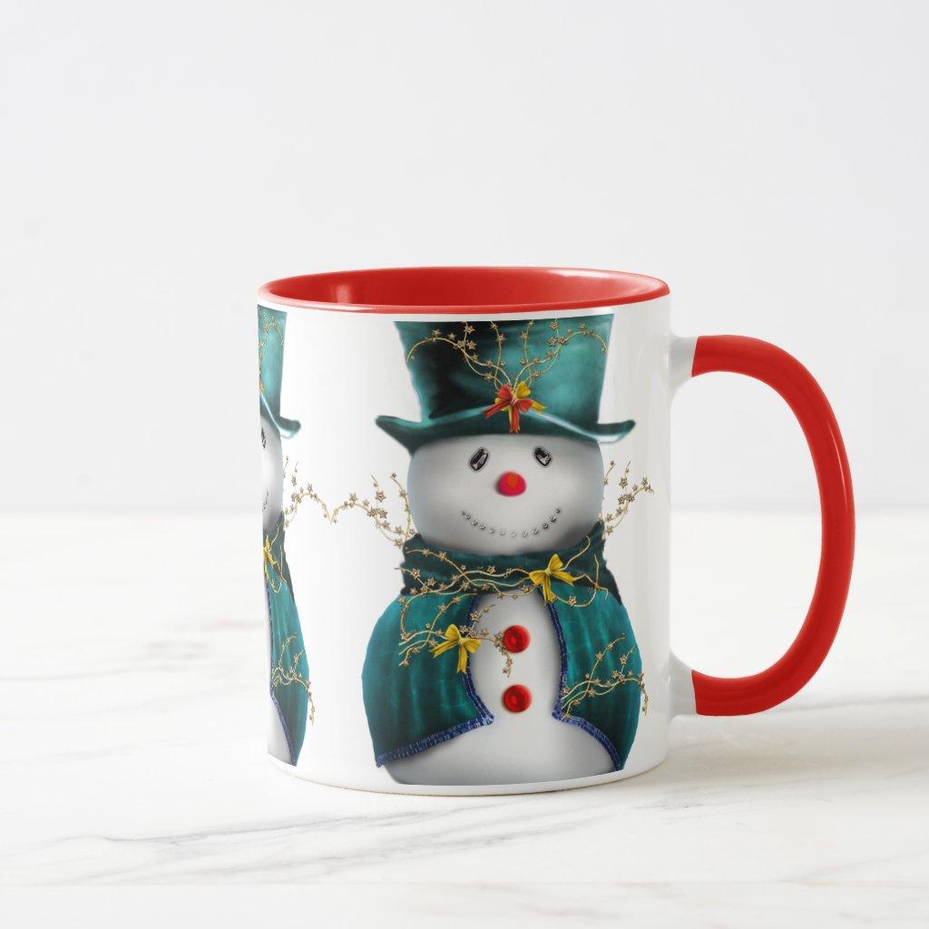 Cute Snowman in Green Velvet Christmas Mug