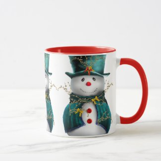 Cute Snowman in Green Velvet Christmas Mug