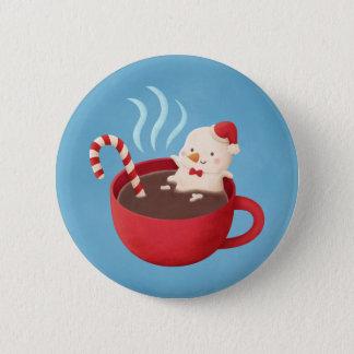 Cute Snowman in Hot Chocolate Christmas button