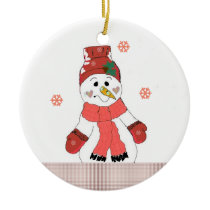 Cute Snowman in Red Ceramic Ornament