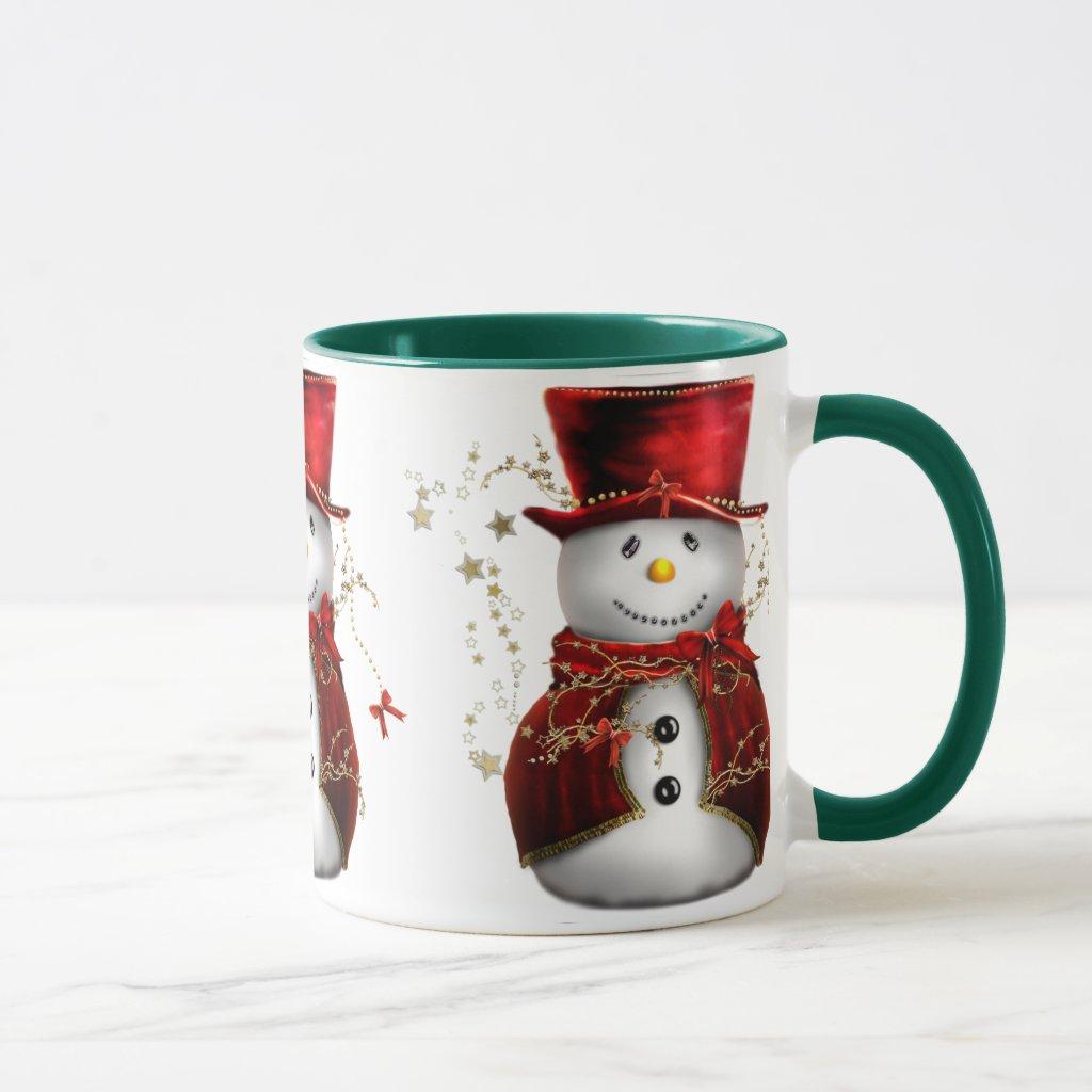 Cute Snowman in Red Velvet Christmas Mug