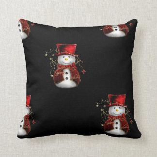 Cute Snowman in Red Velvet Christmas Throw Pillow