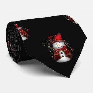 Cute Snowman in Red Velvet Christmas Tie