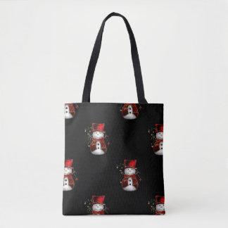 Cute Snowman in Red Velvet Christmas Tote Bag