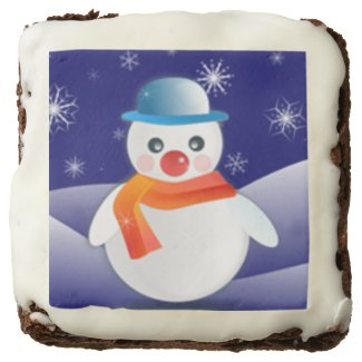 Cute Snowman In Winter Scene Brownie