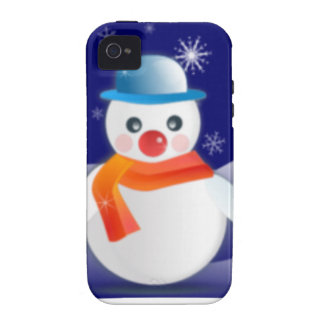 Cute Snowman In Winter Scene Vibe iPhone 4 Covers
