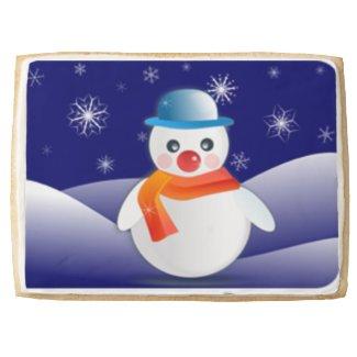 Cute Snowman In Winter Scene Jumbo Cookie