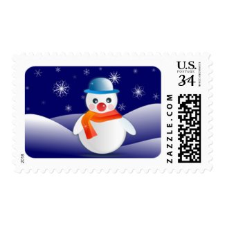 Cute Snowman In Winter Scenery Stamps