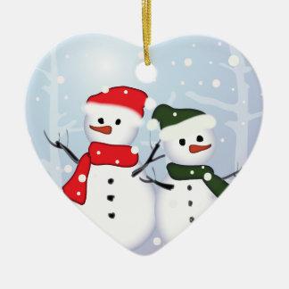 Cute Snowman Love Christmas Tree Ornament