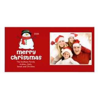CUTE Snowman Merry Christmas Family Photo Card