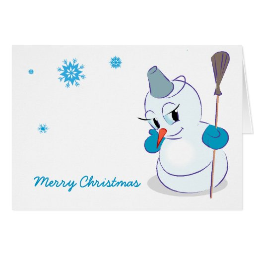 Cute Snowman Merry Christmas Greeting Card